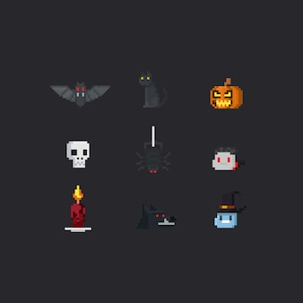 Pixel halloween elements.8bit.
