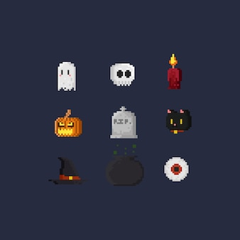 Pixel halloween elements.