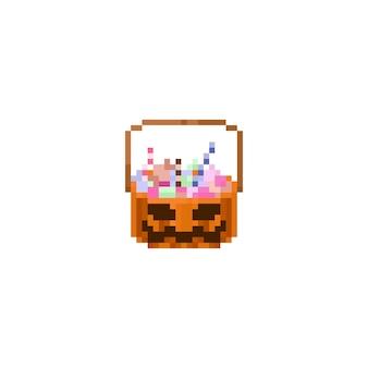 Pixel halloween pumpkin candy basket