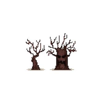 Pixel halloween trees.8bit.