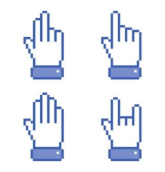 Набор иконок синий pixel hand. иллюстрации.