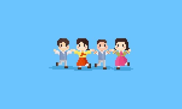 Pixel happy korean children in national costume