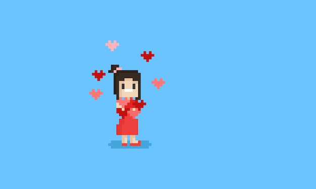 Pixel happy woman holding hearts. valentine's day.
