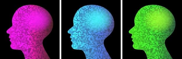 Пиксельный профиль головы набор логотип искусственного интеллекта ai технологии иконки вектор