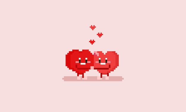 Pixel heart character doing hug