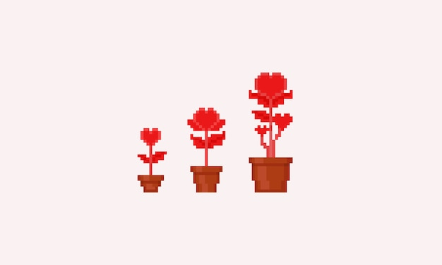 Pixel heart flowers set.8bit.