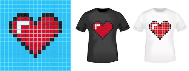 Pixel heart t-shirt print stamp for tee, t shirts applique, fashion, casual wear.