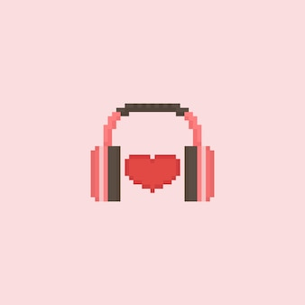 Pixel heart with headphone