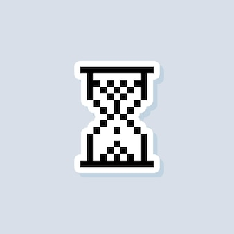 Pixel hourglass sticker. hourglass logo. vector on isolated background. eps 10.