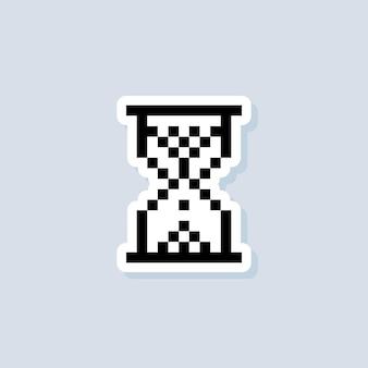 Пиксельная наклейка «песочные часы». логотип песочных часов. вектор на изолированном фоне. eps 10.