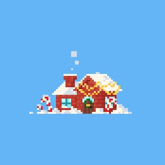 Pixel house with christmas home decor and snow.