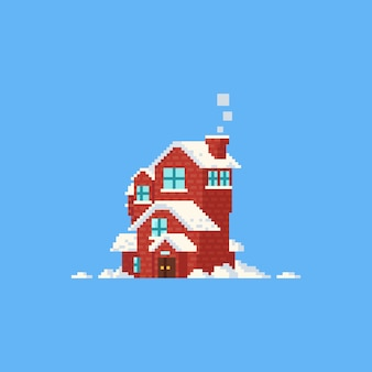 Pixel house with snow