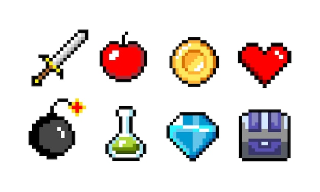 Pixel icons colorful vector illustration sword and cannonball skull and coin mushroom and heart