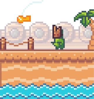 Pixel illustration of pixel monster on the bridge