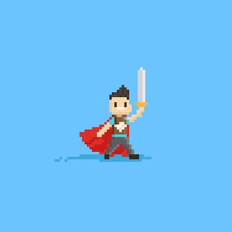 Pixel kid play as knight halloween costume.8bit character.