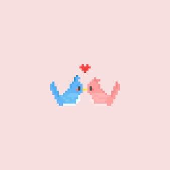 Pixel kissing bird couple