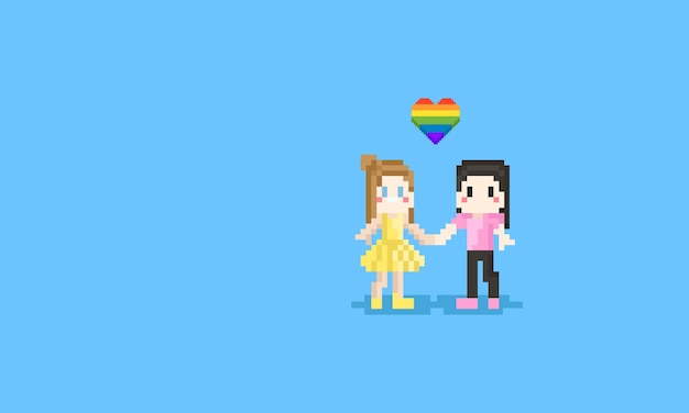 Pixel lesbian couple hold them hand together