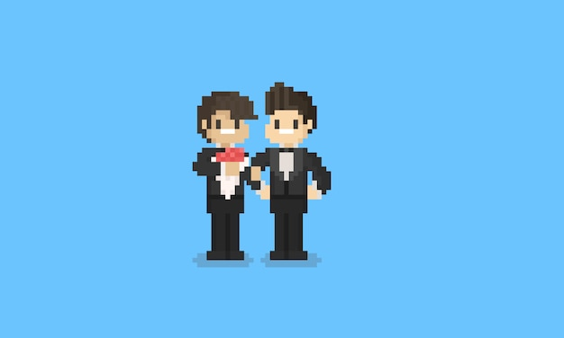 Pixel lgbt couple in groom uniform. 8bit pride day character.