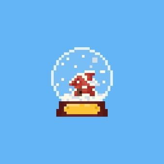 Pixel little house in the snow globe.