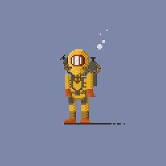 Pixel look deep sea diver in yellow suit