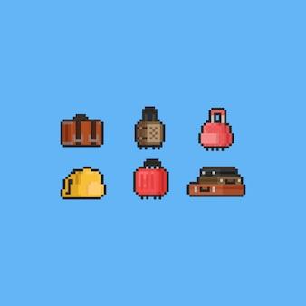 Pixel luggage icon set.summer travel.