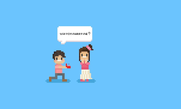 Pixel man ask woman to get marry with speech bubble.valentine.8bit character.