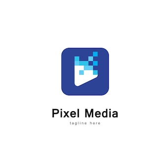 Pixel media player logo template
