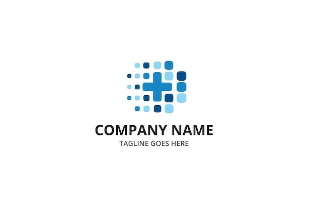 Логотип pixel medical clinic и значок шаблона