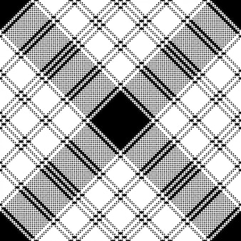 Pixel monochrome plaid seamless pattern