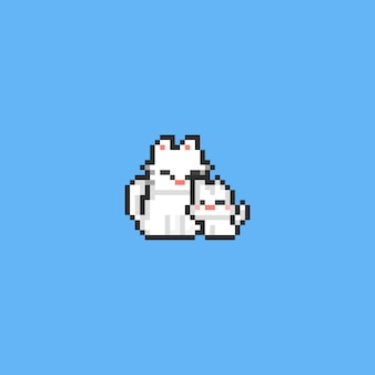 Pixel mother cat with little kitty. 8bit.