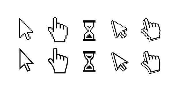Pixel mouse cursors pointer, arrow and wait