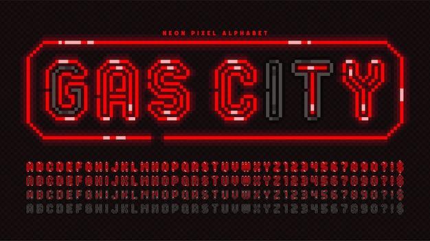 Пиксельный неоновый алфавит, аркадный стиль. высококонтрастный, ретро-футуристический. легкое управление цветными образцами.