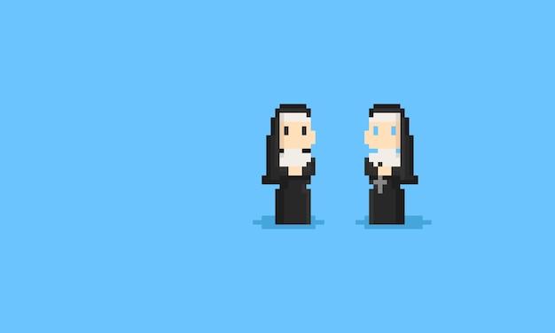 Pixel nun.8bit character.