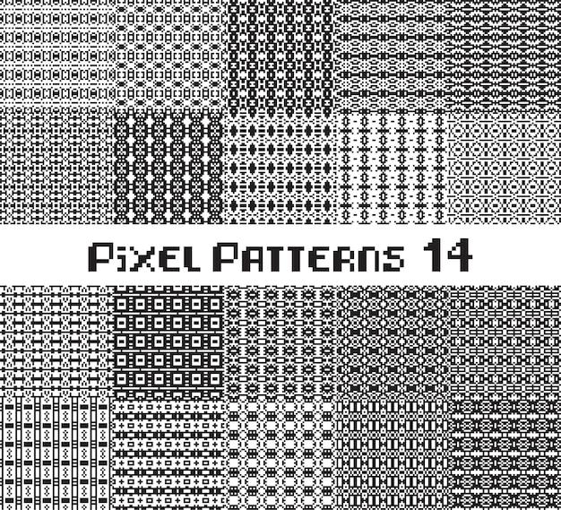 Пиксельный узор бесшовные черный и белый цвет