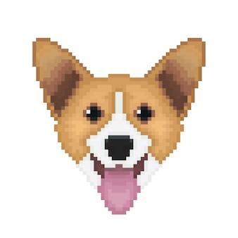 Pixel pembroke welsh corgi dog.