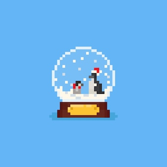 Pixel penguins inside the snow globe.christmas.8bit.
