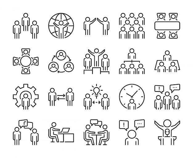 Иконка бизнес людей. деловые люди линии значок набор. редактируемый штрих, pixel perfect.