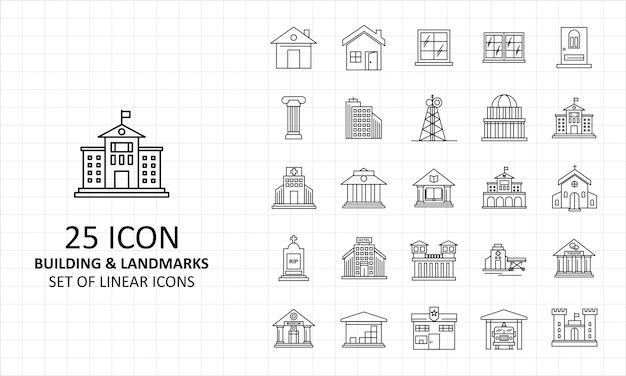 Здания и достопримечательности иконки лист pixel perfect