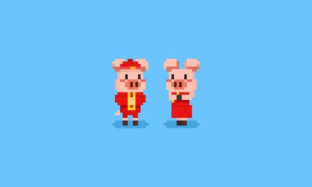 Pixel pig character in chinese costume