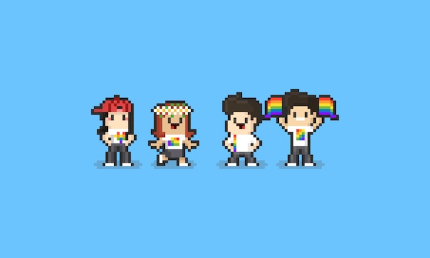 Pixel pride day cartoon character set. 8bit. lgbt.