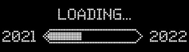 Pixel progress bar showing loading of 2022 year vector