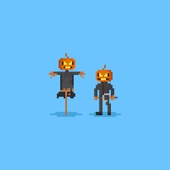 Pixel pumpkin head scarecrow character