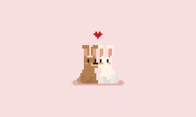 Pixel rabbit couple with red heart. valentine's day.
