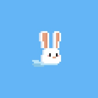 Pixel rabbit head with blue scarf