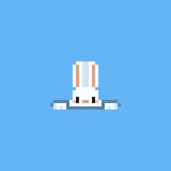 Pixel rabbit heading up from hole