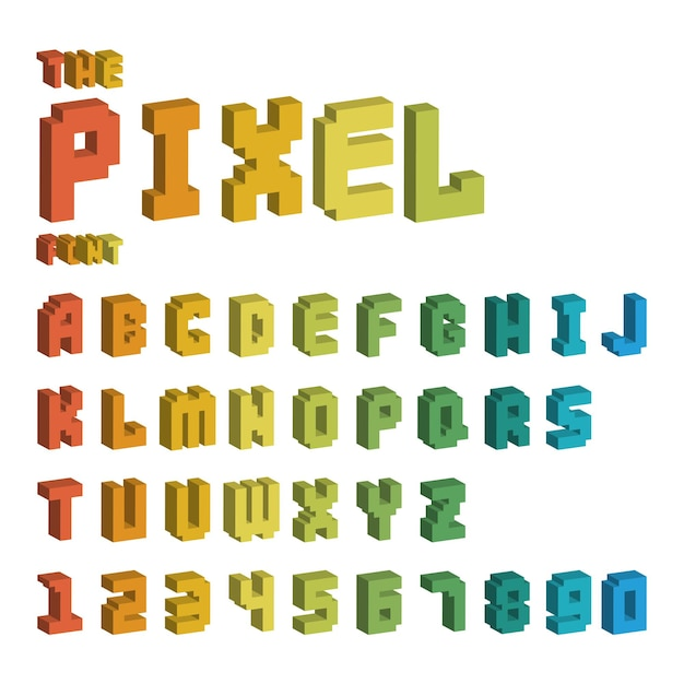 Pixel retro font for video computer game