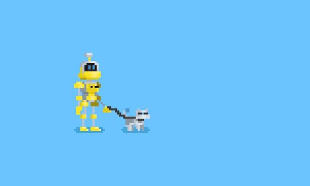 ピクセルロボットと彼の鉄犬.8ビット文字。
