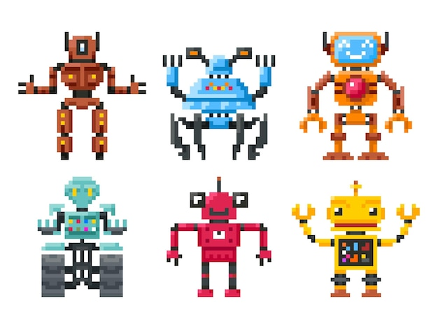 Pixel robots icons. 8 bit bots isolated. set of robots in pixel style, illustration color robot