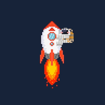 Pixel rocket illustration with astronaut on it.