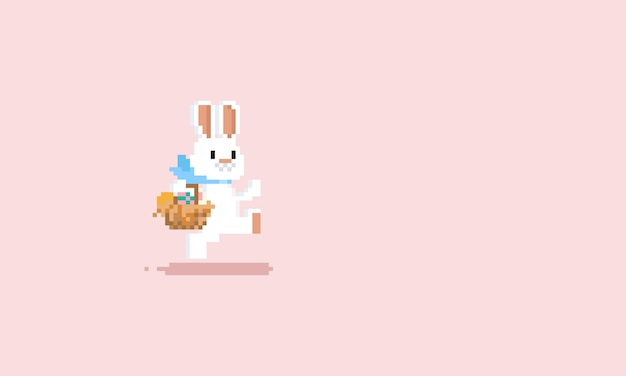 Pixel running rabbit with easter egg basket